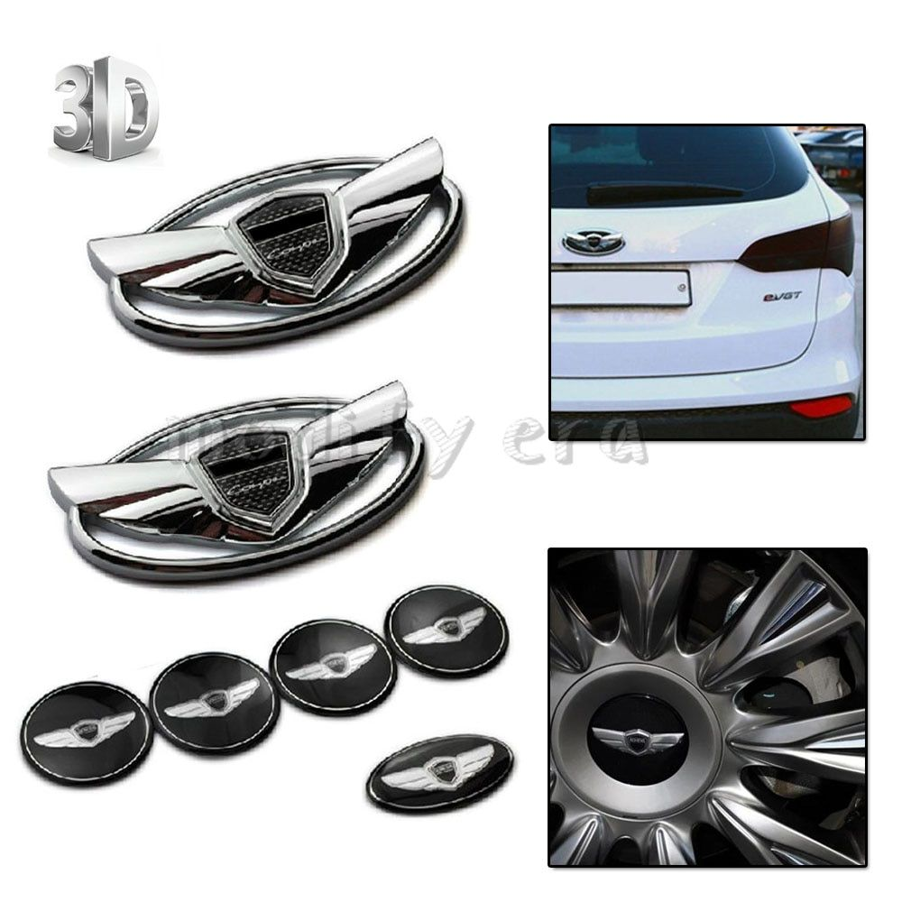 7pcs 3D Silver Emblems Badges Stickers(Front and Rear Steering Wheesl) With Double-side Tape For 2010-2015 Hyundai GENESIS COUPE