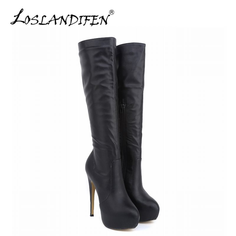 LOSLANDIFEN Winter Women Knee-High Boots Matte Leather Pointed Toe High Heels Shoes Mid Calf Knee Wide Leg Stretch Boots 819-6MA