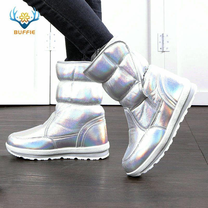 2019 nouveau hiver mode femmes bottes mixte laine naturelle femme bottes chaudes imperméable à l'eau épaisse fourrure pleine taille argent dame bottes de neige