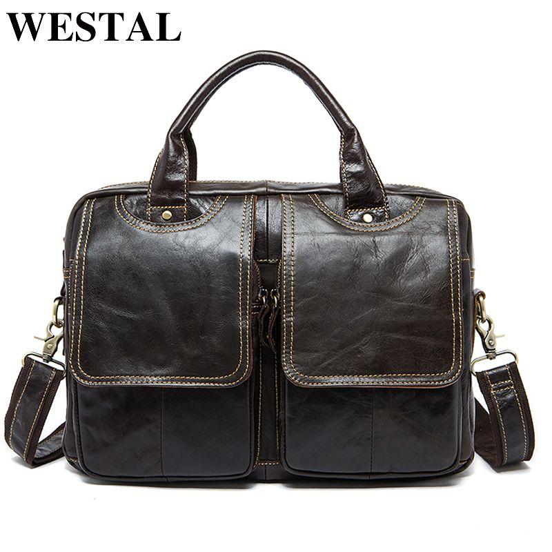 WESTAL Business Briefcases Bag Messenger Bags Men's Genuine Leather Laptop Bag 14'' Bag for Document Male Briefcases Totes 8002