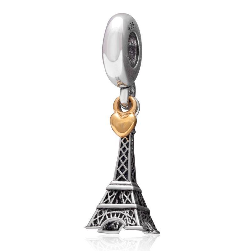 Подходит Pandora Подвески Браслеты оригинальный 925 серебро Эйфелева башня Шарм Подвеска DIY бусинами Бесплатная доставка