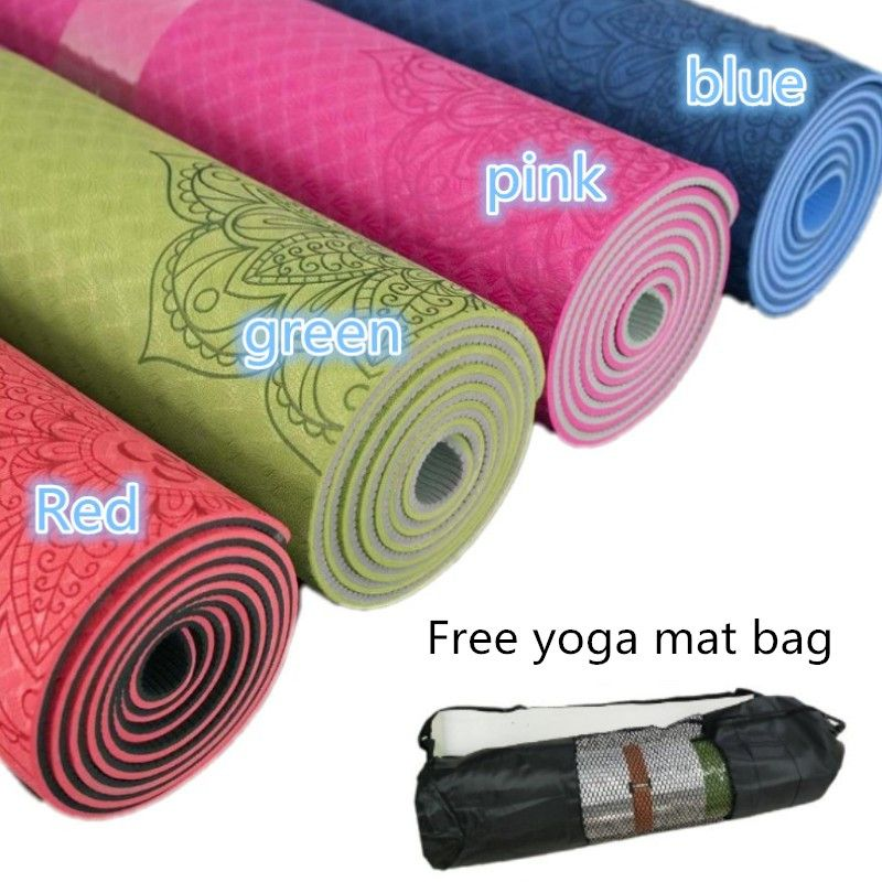 Non-slip TPE Yoga Mat 6mm Fitness Mat for Fitness Yoga Sport Mat Gymnastics Slimming Mats Balanceth Pad Pilates Yogamat