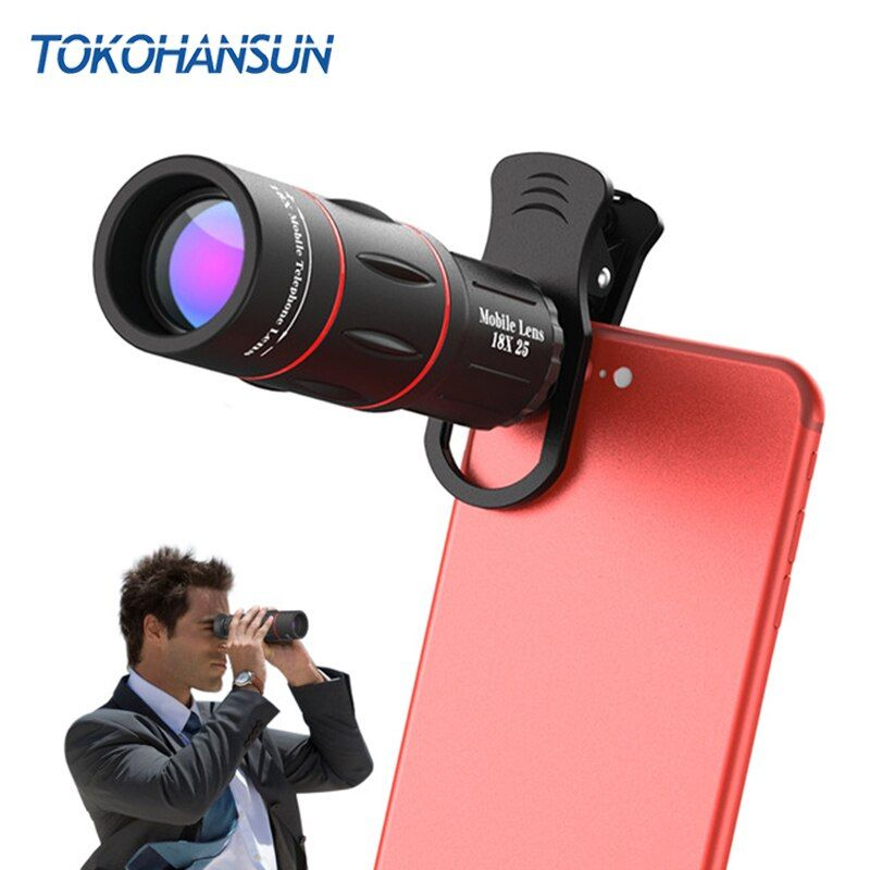 TOKOHANSUN 18X Télescope Zoom Mobile Lentille de Téléphone pour l'iphone Samsung Smartphones universel clip Telefon Lentilles de Caméra avec trépied