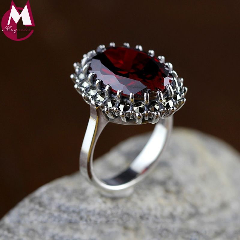 Natural Red Garnet Gemstone Rings For Women 925 Sterling Silver Wedding Rings Fine Jewelry Gifts Vintage Ruby Red <font><b>Stone</b></font> SR52