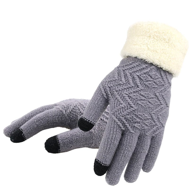 Knitted Gloves Touch Screen Women Thicken Winter Warm Gloves Female Full Finger Soft Stretch Knit Mittens Guantes