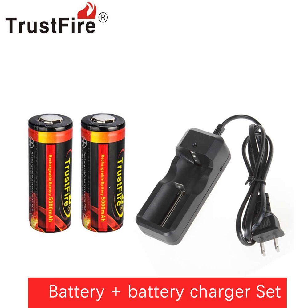 2 pièces trust authentique 26650 protégé 5000 mAh 3.7 V Li-ion batterie Rechargeable + chargeur de batterie universel filaire