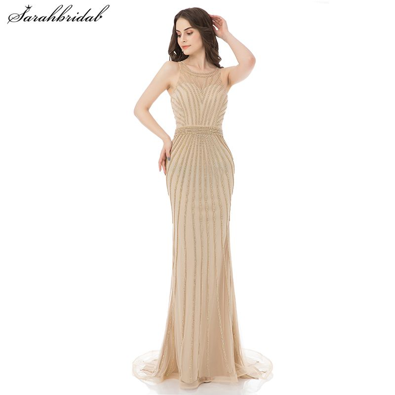 2017 Sexy Robe De Soiree Mermaid Long Evening Dresses Crystal Party Gowns Formal Vestido De Festa Longo Real Pictures LSX353