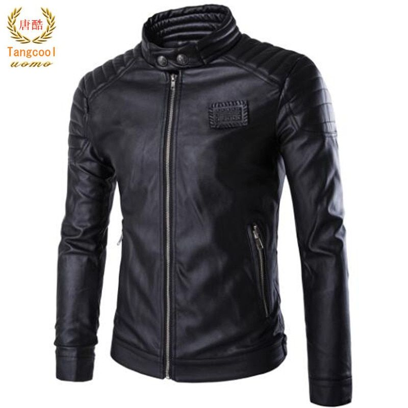 Europe America autumn and winter collar motorcycle leather jacket PU skin men's motorcycle riding leather jacket