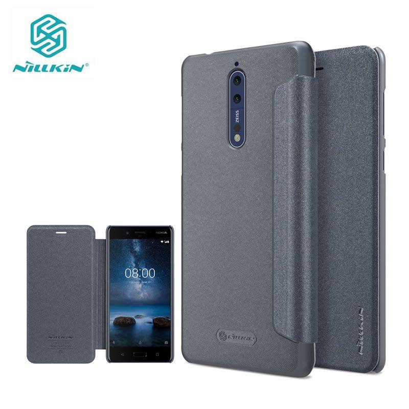 Cas pour Nokia 8 5.3 pouce Nillkin Étincelle Série En Plastique Dur PU Couverture En Cuir de Filp la sfor Nokia 8 Cas