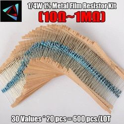 600pcs/set 30 Kinds 1/4W Resistance 1% Metal Film Resistor Pack Assorted Kit 1K 10K 100K 220ohm 1M Resistors 300pcs/set