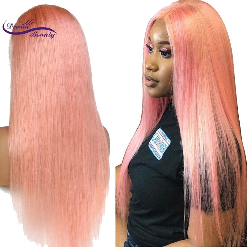 Dream Beauty Peruvian Remy Human Hair Pink Color Front Lace Wig Pre-Plucked Hairline Straight Hair with Baby Hair Glueless Wigs