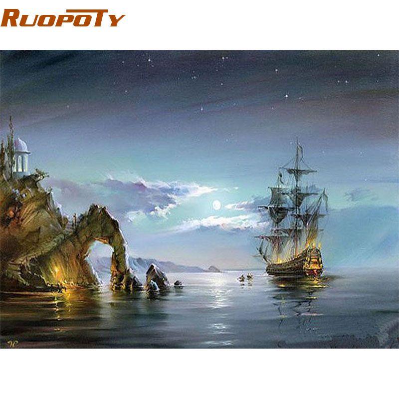 RUOPOTY cadre abstrait paysage marin peinture à la main par numéros Kits coloriage par numéros peint à la main pour maison mur Art photo 40x50 cm