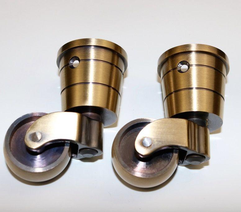 4PCS/LOT  Wheel D:32MM  High:66MM  Copper Piano Caster Wheels Copper Furniture Hardware