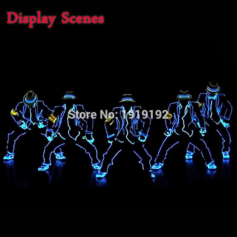 EL Costumes Nouvelle Mode LED/EL Vêtements Lumineux Costumes Gants Lumineux Chaussures Lumière Vêtements Hommes EL Masques Vêtir De Danse