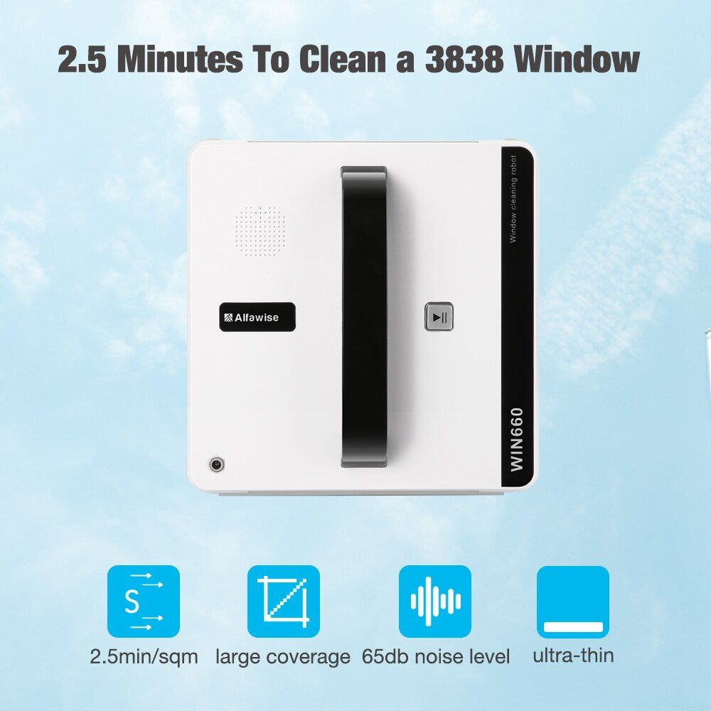 Alfa wise Window Cleaner Robot Vacuum Cleaner WIN660 Smart Plan Type Robotic With Wifi App Control Window Glass Cleaning Brand