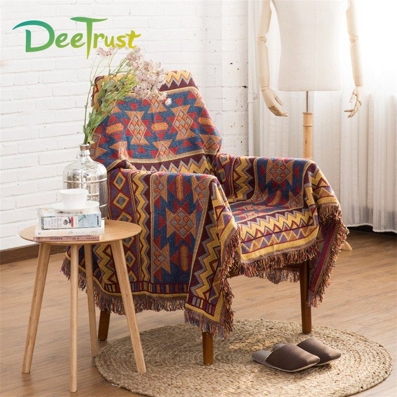 America Retro Plaid Thickening Blanket Sofa Throws On Sofa/Bed/Plane Cover Spring Decorative Cobertor Blanket With Tassel