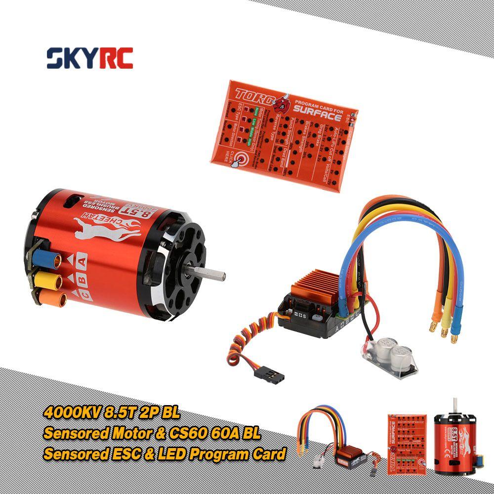 SkyRC 4000KV 8.5T 2P & CS60 60A Brushless Sensored Motor & ESC & LED Program Card Combo Set for 1/10 1/12 Buggy Touring Car