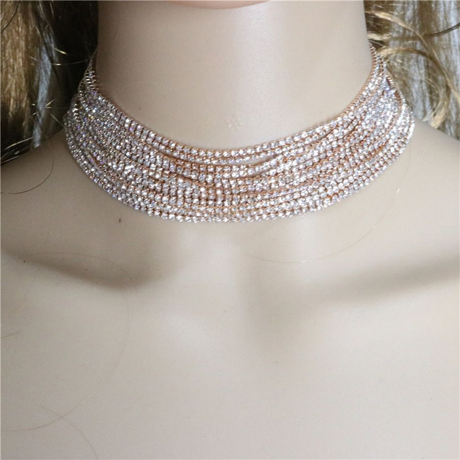 Rhinestone Crystal Choker Maxi Necklace Multilayer Chain Wedding Chokers Necklace Fashion Jewelry Accessories