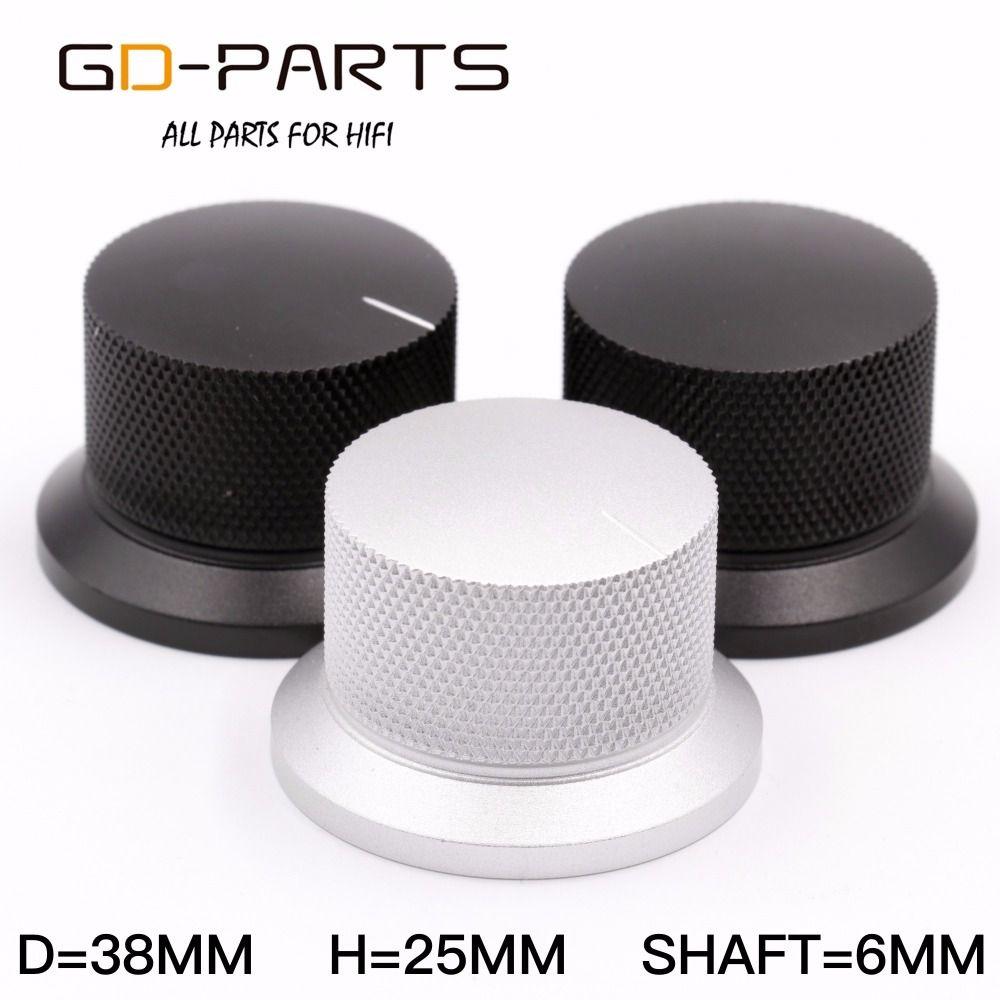 GD-PARTS 38x25mm Gefräste Aluminium Knopf Volumen Sound Control Knob Für Hifi Audio AMP Plattenspieler Recorder Radio Silber schwarz 1 STÜCK
