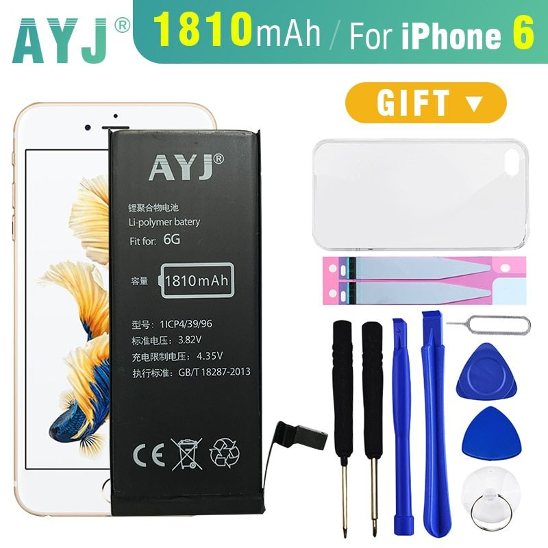 AYJ Original Battery For iphone 6 6G Real Capacity 1810mAh mobile phone replacement battery with free Case+Tools Kit 0 cycle