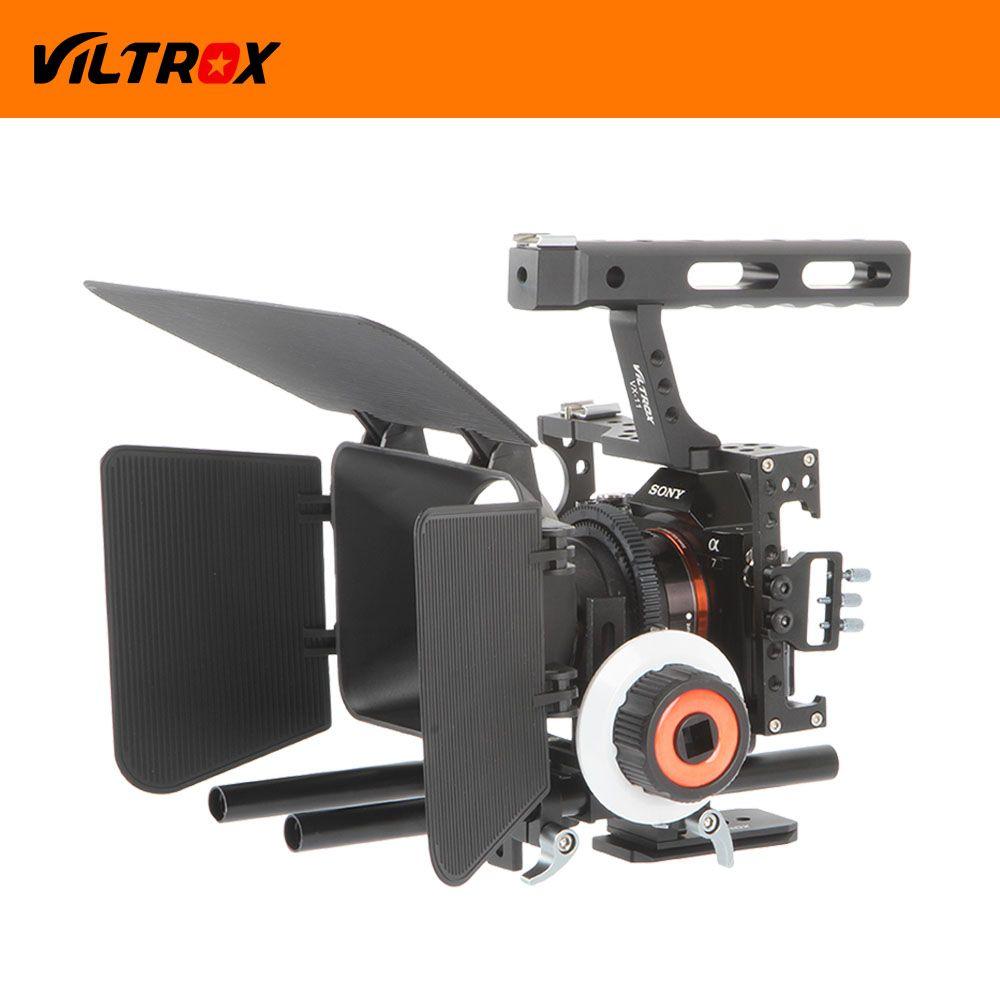 Viltrox Kit de stabilisateur de Film vidéo DSLR 15mm Cage de caméra de montage de tige + poignée + suivi de mise au point + boîte mate pour Sony A7 II A6300/GH4