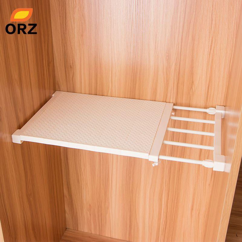 ORZ Retractable Closet Organizer Shelf Adjustable Kitchen Cabinet Storage Holder Cupboard Rack Wardrobe Organizer Bathroom Shelf