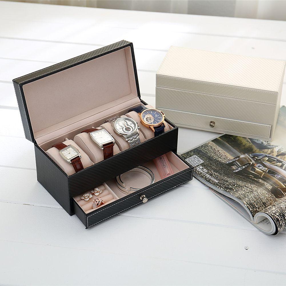 4Grids CF Rectangle leather watch Box Jewelry Box with drawer make up organizer watch jewelry Casket storage box saat kutusu
