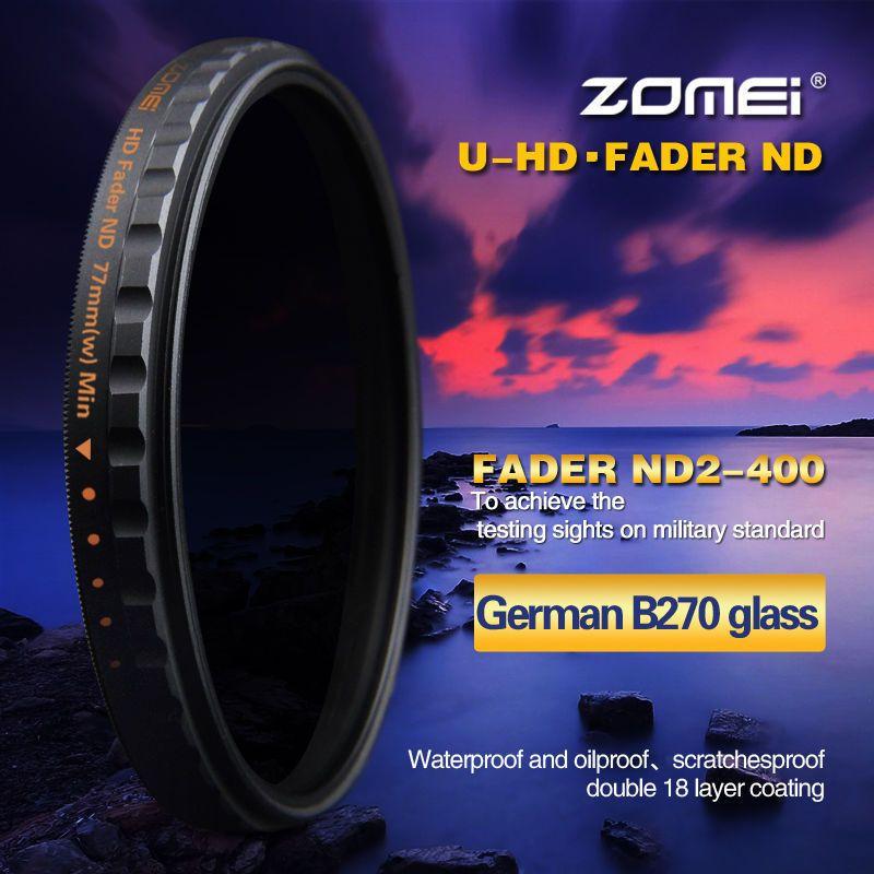 Zomei 52/58/67/72/77/82mm PRO Mince HD ND2-400 Fader Filtre ND densité Neutre Variable Filtre D'objectif pour Canon NIkon Sony Pentax