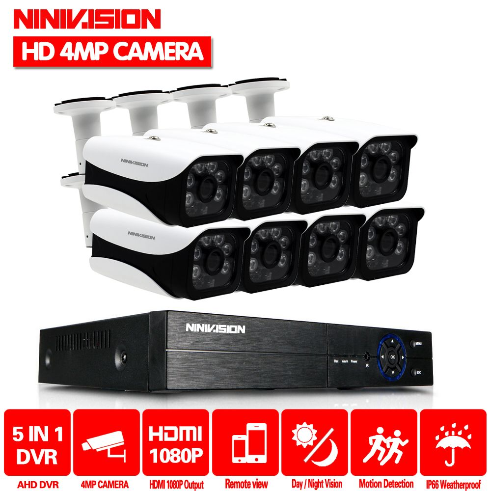 NINIVISION HD CCTV System 4MP 8CH AHD DVR Kit 8PCS 4.0mp 2560*1440 6PCS Array LEDS Security Camera Outdoor Surveillance Kit