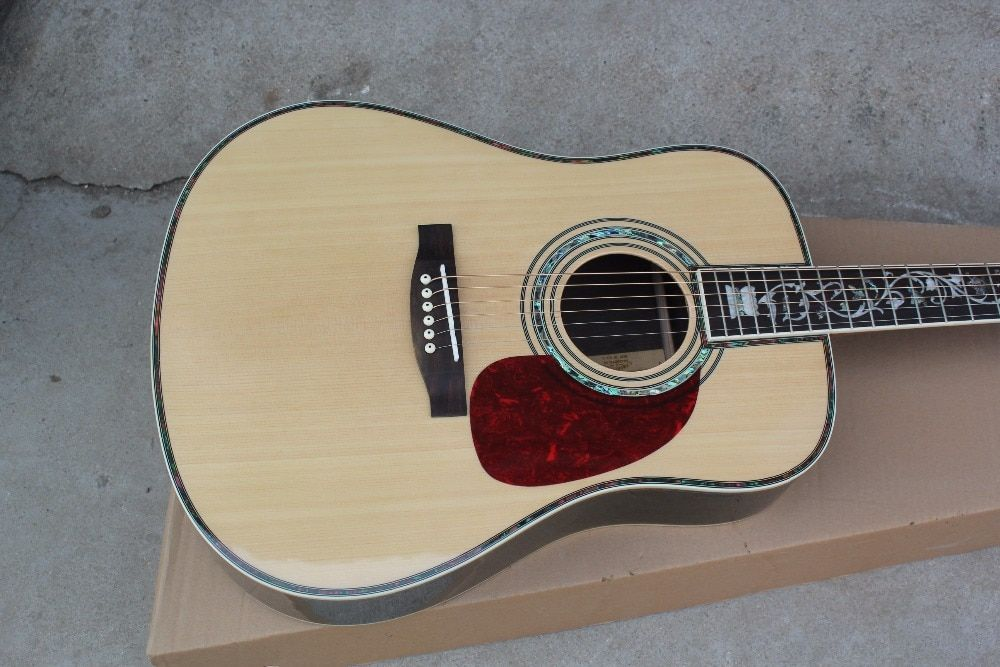 custom guitar factory new Top Quality Solid Spruce Top Rosewood Back & Sides Tree of Life Inlay Acoustic 45 Guitar