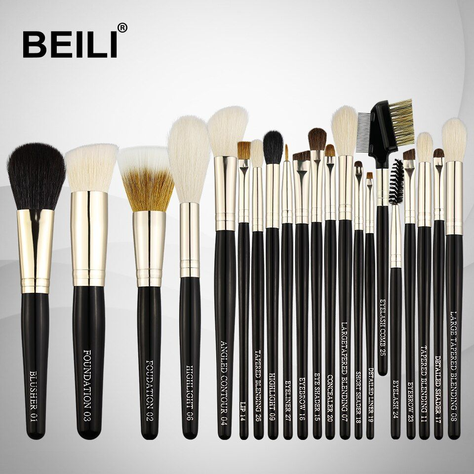 BEILI  Weasel Goat Hair Horse Synthetic Blusher Powder Foundation Eye shadow liner Lip 21Pcs Professional Makeup Brushes Set
