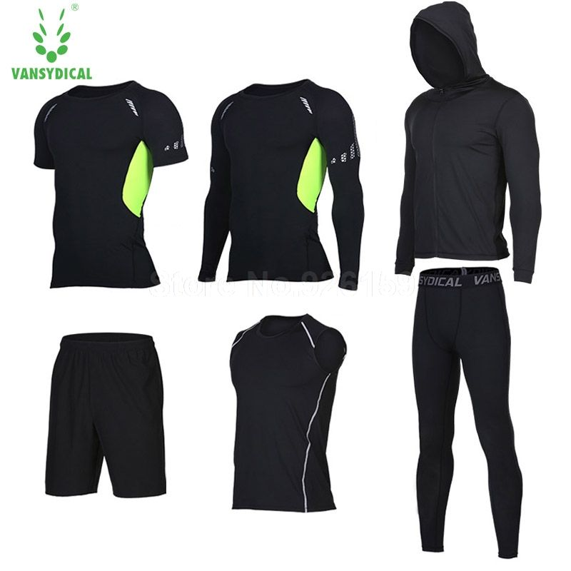 Vansydical Running Suits Men Sports Suits Men Running Compression Shirt 6pcs Gym Training Running Tracksuits Man Gym Clothing
