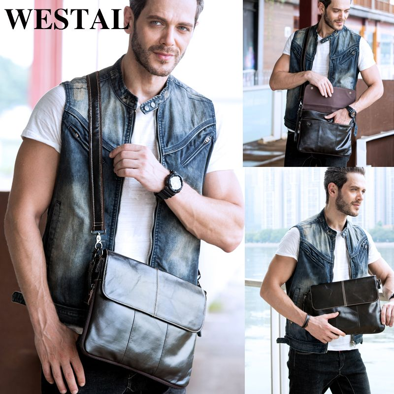 WESTAL Men's Bags Genuine leather crossbody bags male Zipper Shoulder messenger bag men leather men Clutch bag Flap 8007
