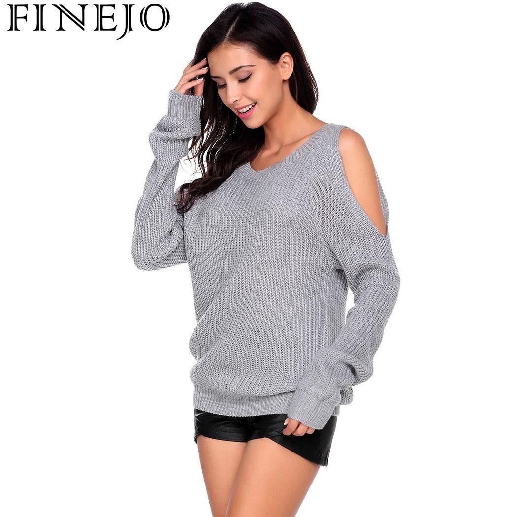 FINEJO Mujeres Streetwear 2017 Nuevo Suéter de Punto Suéter de la Señora Del Sexo Sólido Del O-cuello del Hombro Corto Femenino Suéter Tops