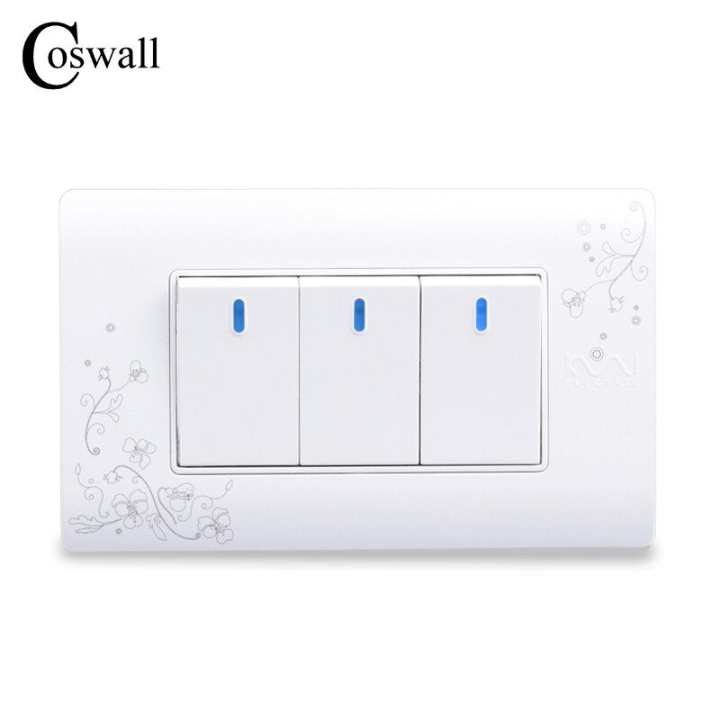 COSWALL Simple Style 3 Gang 2 Way Bouton-Poussoir Interrupteur Mural Interrupteur Blanc Interrupteur de Lumière de Couleur 114*70mm AC 110 ~ 250 V C30-118-103