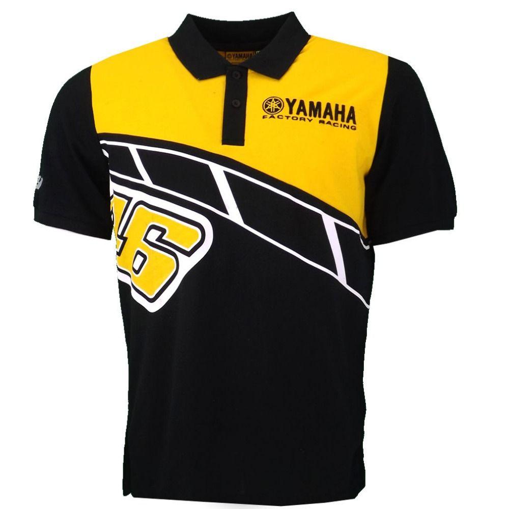 NEW 2017 Valentino Rossi VR46 Heritage Polo Shirt Moto GP Monza Cotton for Yamaha Poloshirt Yellow Black