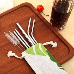 Portable Drinking Straws Stainless Steel Metal Drinking Straw Reusable Straws With Cleaner Brush Tea Bar Accessories