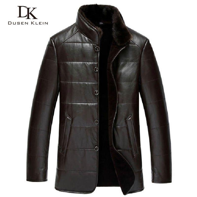 Dusen Klein Winter lederjacke schaffell wolle liner nerz pelzkragen luxus marke mäntel Schwarz/Braun 15J1386