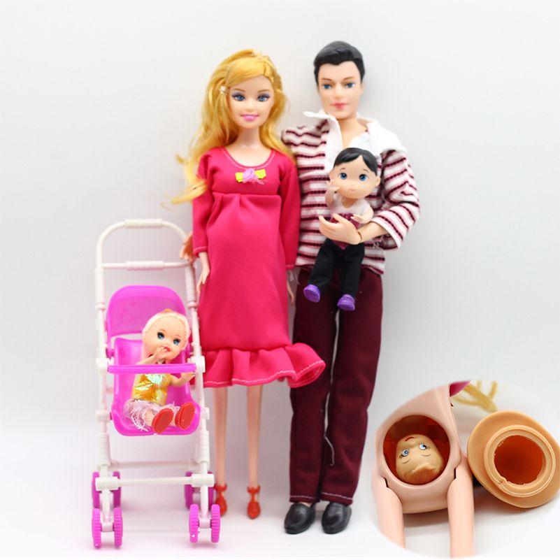 4 pièces/ensemble Happy Family poupées enceinte Babyborn Ken Prince & femme Babyborn poussette pour poupées poupée enfant jouets calèches pour poupées