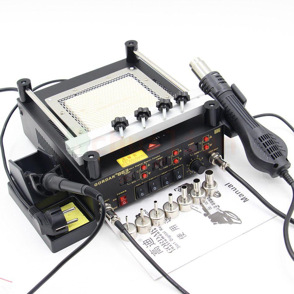 Gordak 863 3 in 1 Hot Air Heat Gun Soldering Stations Electric Soldering iron IR Infrared Preheating Station