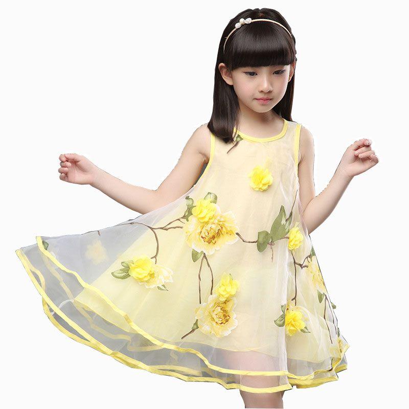 2018 Vêtements d'été pour Filles Adolescentes Bébé Enfants 3D Fleur Fête Robe enfants Robe Pour 3 Ans 4 5 6 7 8 9 10 11 12 ans