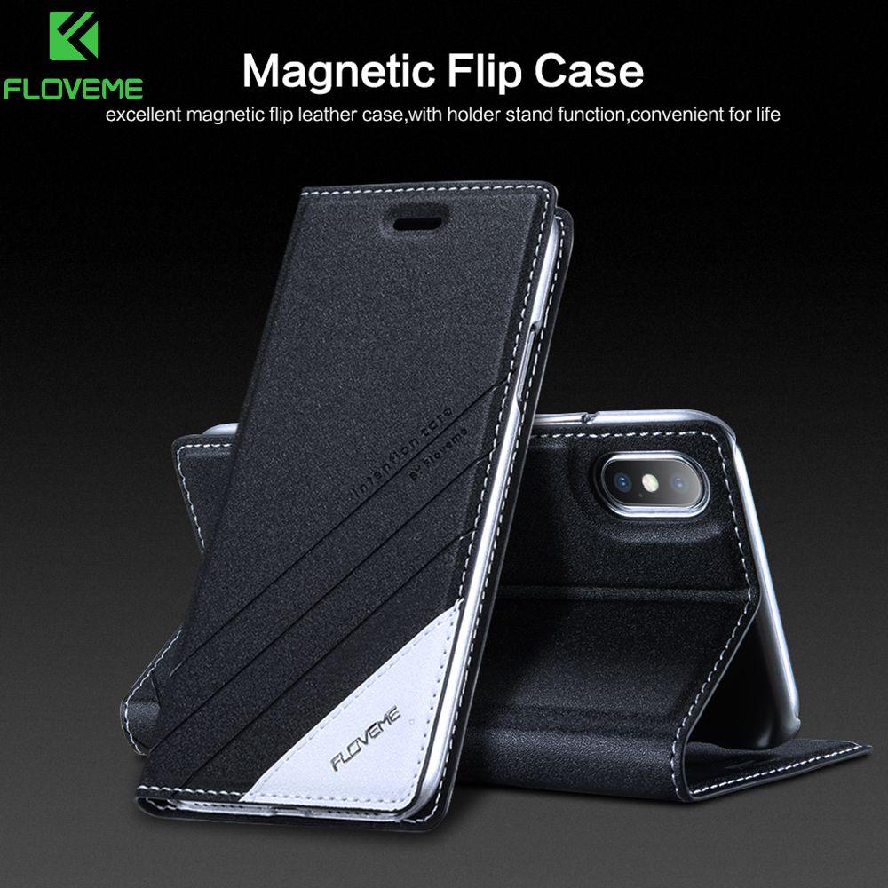 FLOVEME portefeuille à rabat en cuir étuis de téléphones portables pour iPhone 6 6s 5s étui support étui pour iPhone X XR XS 6 S 7 8 Plus étuis