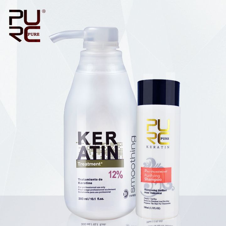 11.11 Brazilian keratin 12% formalin 300ml keratin hair treatment and one piece 100ml purifying shampoo hot sale hair treatment