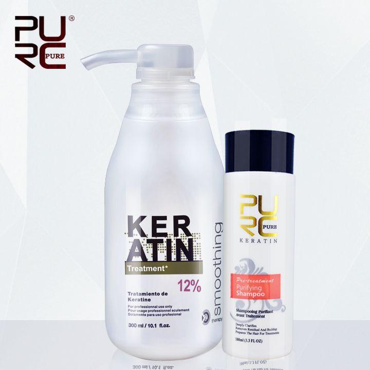 PURC Brésilien kératine 12% formol 300 ml kératine traitement et 100 ml shampooing purifiant défrisage traitement des cheveux ensemble