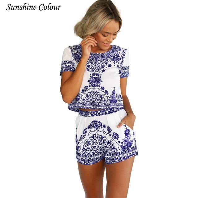 2017 été bleu porcelaine deux pièces combinaison femmes barboteuse à manches courtes Crop top shorts combishort salopette