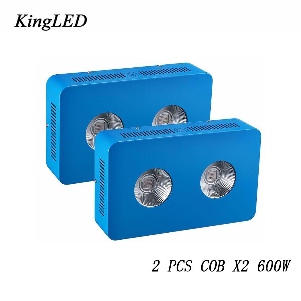 2 pcs KingLED 600 W COB LED Élèvent La Lumière Plein Spectre 410-730nm Pour Plantes D'intérieur et Fleur Phrase Très Haute rendement