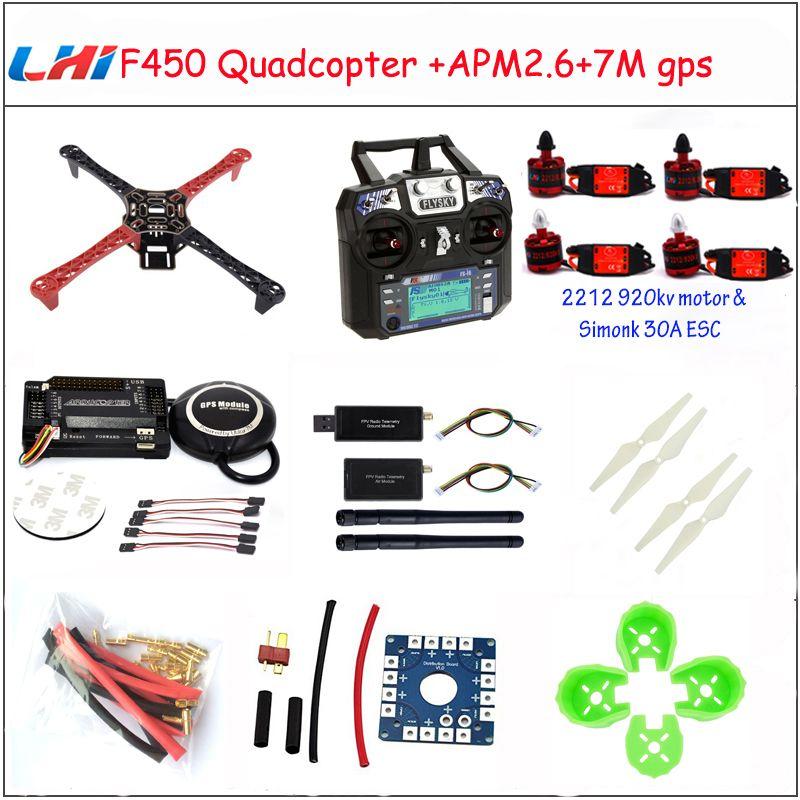 LHI F450 <font><b>Quadcopter</b></font> Rack Kits Frame APM2.6 and 6M 7M 8M GPS 2212 920KV simonk 30A 9443 props drone kit to assemble drones