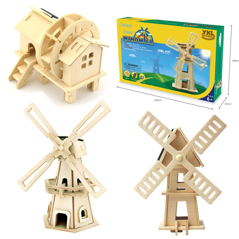 2017 Wooden Solar Energy Powered 3D Windmill Waterwheel DIY Puzzle Jigsaw Building Block Educational Toy Gift for Kid Child -48