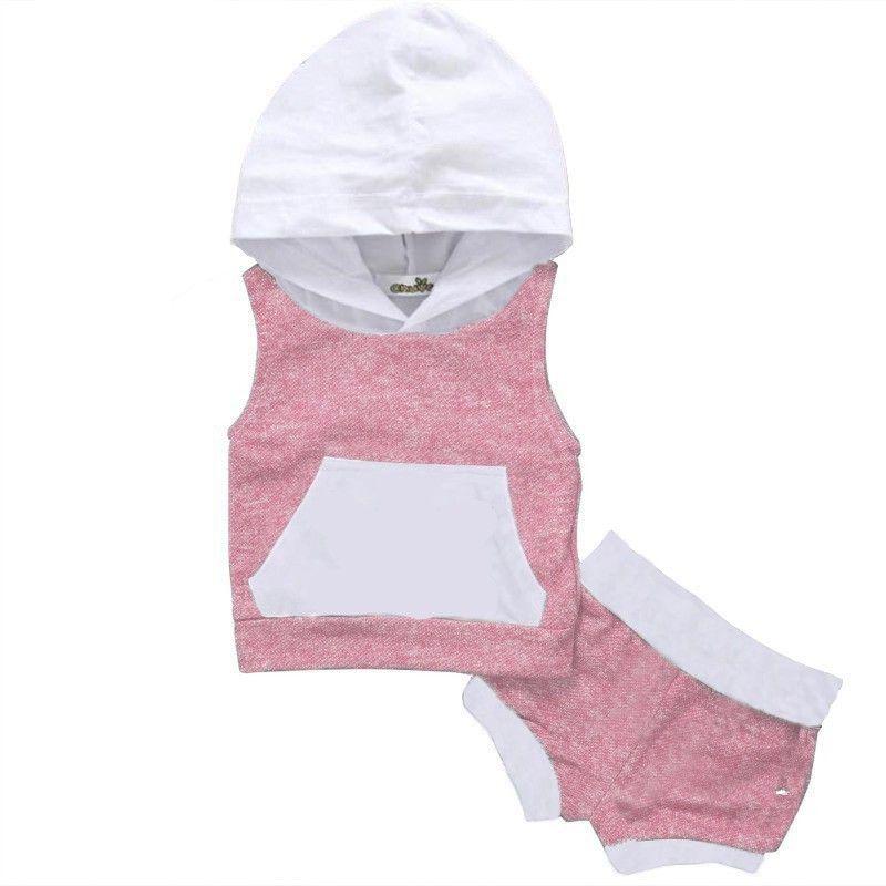 Baby Jongens Meisjes Mode Kleding Set 2 stuk Hoodie Top Korte Broek Gestreepte Groene Mouwloze Kleding Set