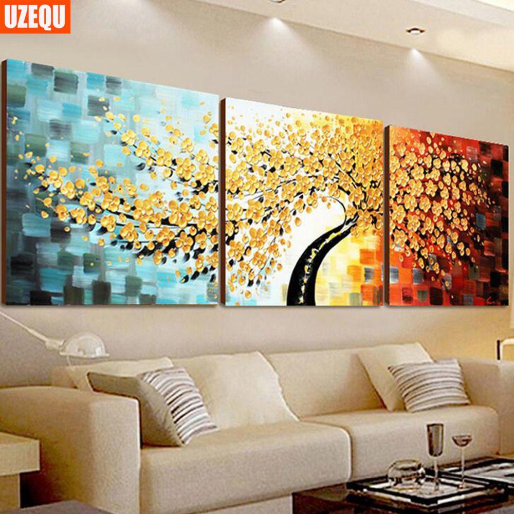 UzeQu Full Diamond Embroidery 5D DIY Diamond Painting Cross Stitch Kit Money Tree Diamond Mosaic Painting Rhinestones Home Decor
